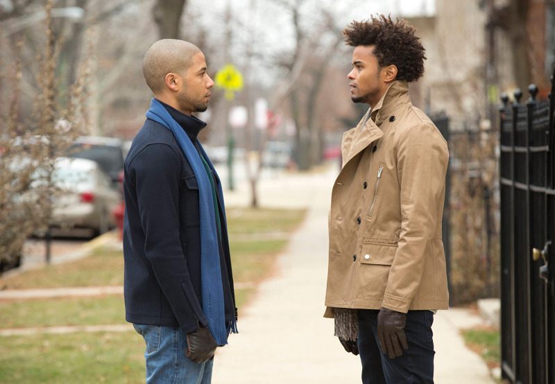 "EMPIRE: Jamal (Jussie Smollet, L) and Ryan (guest star Eka Darville, R) chat in the ""Sins of the Father"" episode of EMPIRE airing Wednesday, March 11 (9:01-10:00 PM ET/PT) on FOX. ©2015 Fox Broadcasting Co. CR: FOX Chuck Hodes/FOX"