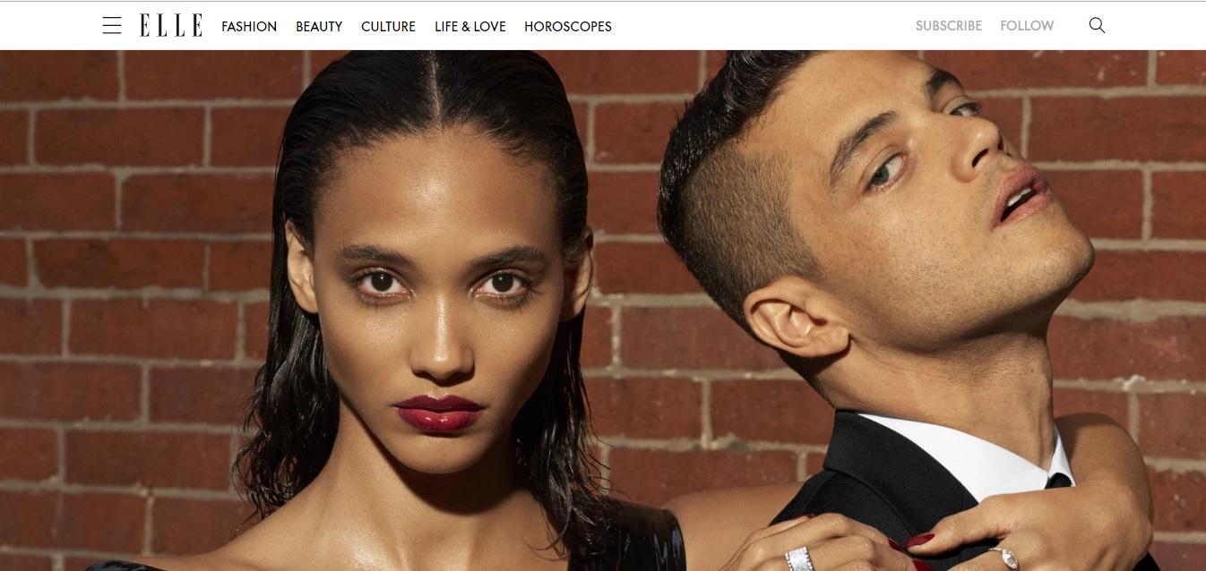 Cora Emmanuel and Rami Malek pose for ELLE Magazine. (Azim Haidaryan/Elle Magazine/screengrab from Elle.com)