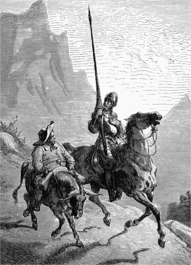 Don Quixote de la Mancha and Sancho Panza, 1863, by Gustave Doré. (Public domain)