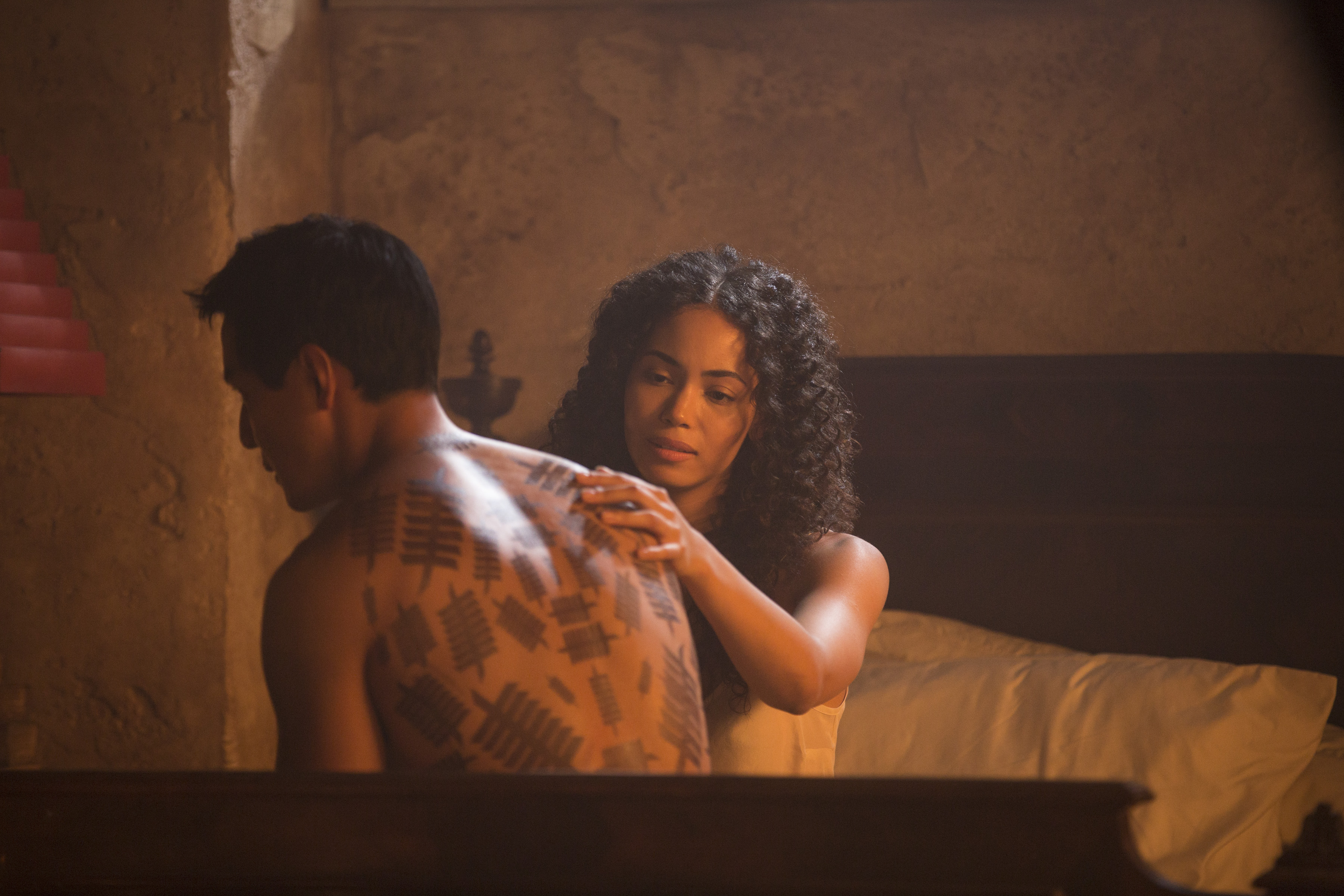 Daniel Wu as Sunny and Madeleine Mantock as Veil in Into the Badlands, Season 1 (Patti Perret/AMC)