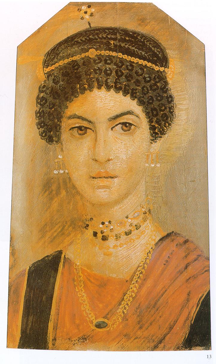 Portrait of a woman from the Fayum province with a ringlet hairstyle, an orange chiton with black bands and rod-shaped earrings. Royal Museum of Scotland. (Public Domain)