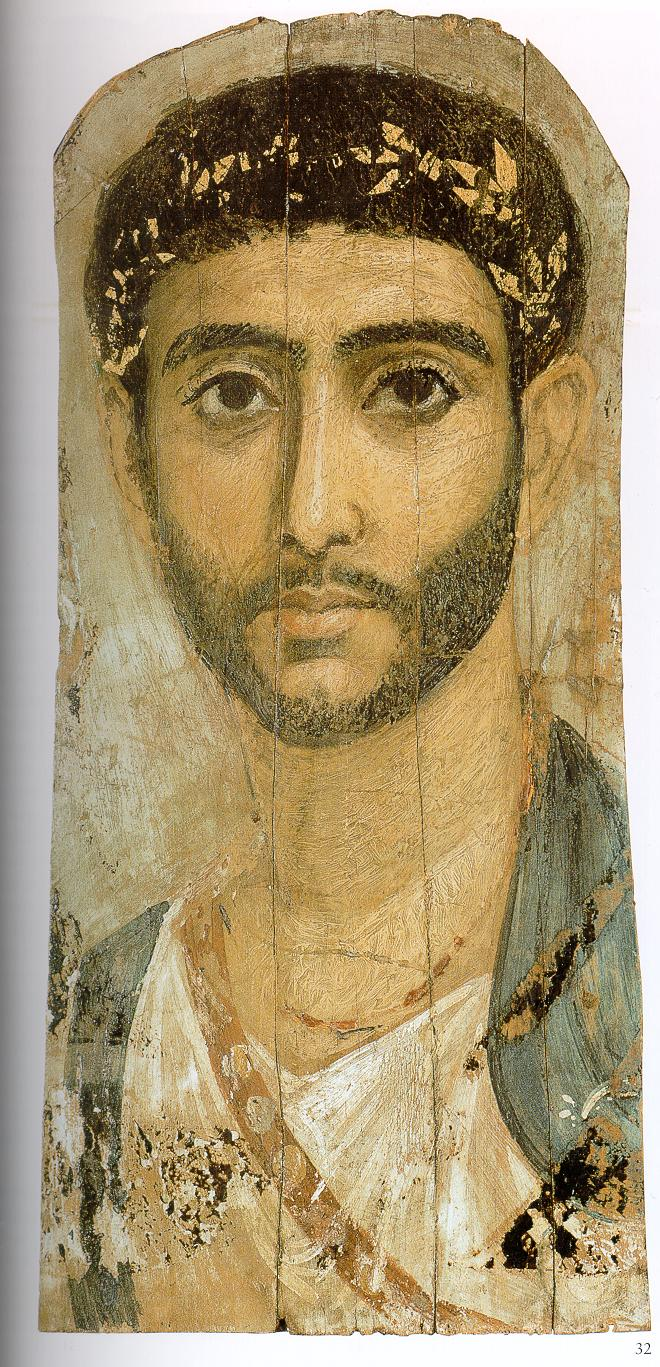 Portrait of a man with sword belt from the Fayum province with British Museum. Public Domain