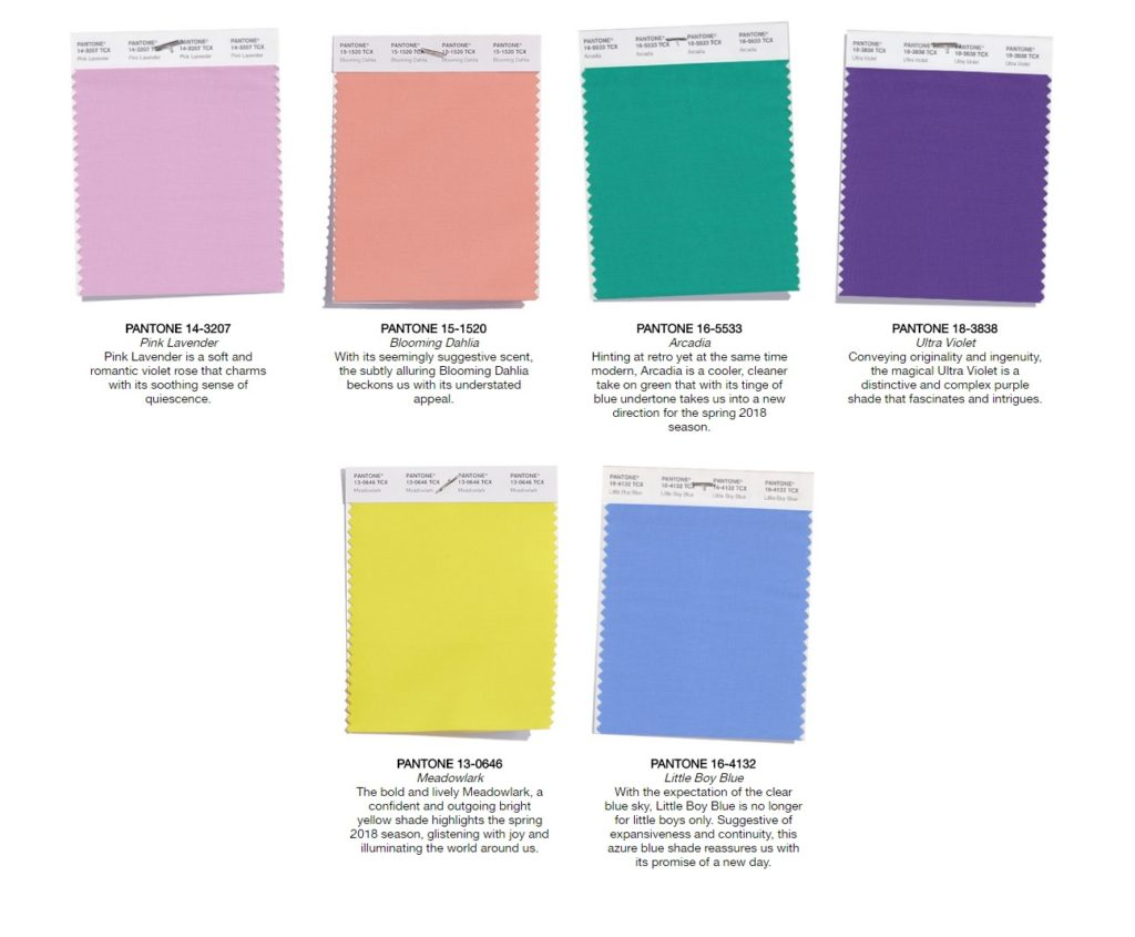 Happy pantone spring 2018 colors get creepy in for Pantone 2017 2018