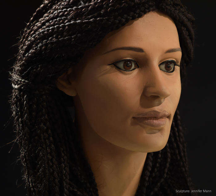 "Reconstruction of ancient Egyptian woman nicknamed ""Meritamun."""