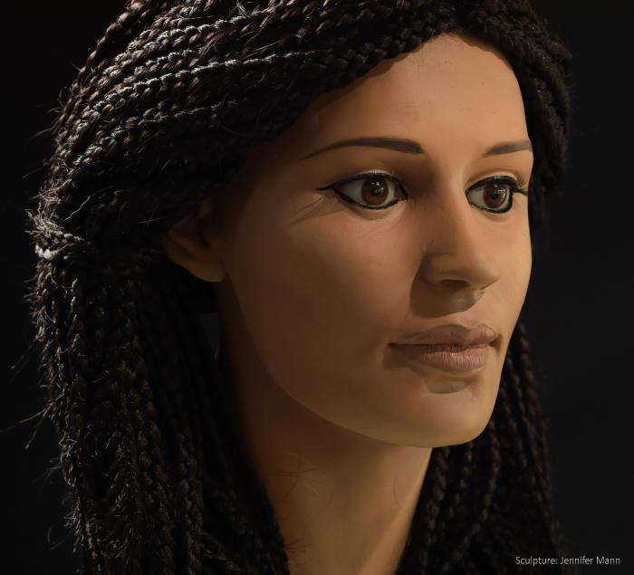 "Reconstruction of ancient Egyptian woman nicknamed ""Meritamun."""