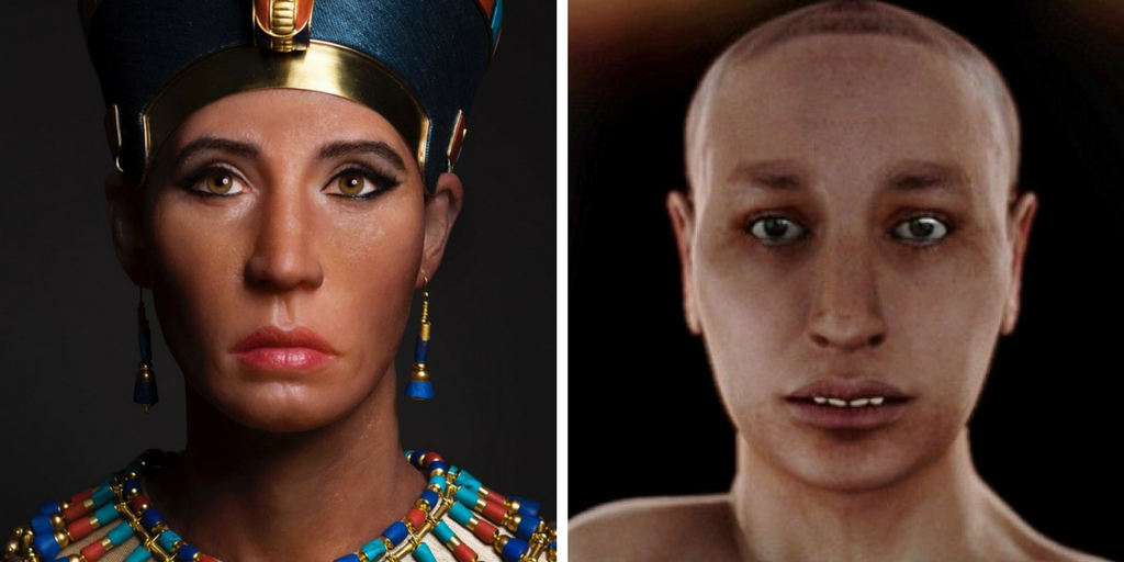 Comparison between the reconstructions of the Younger Lady and Tutankhamun.