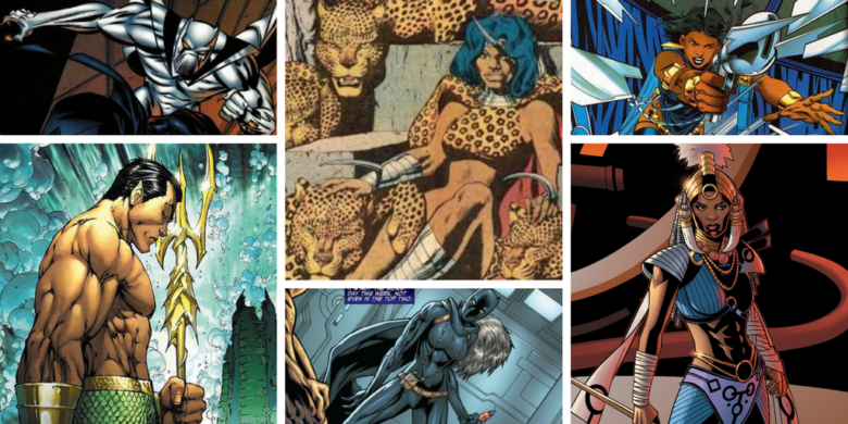 Pictures of Madam Slay, Malice, White Wolf, Shuri as Black Panther, Shuri as the Aja-Adanna, and Namor the Sub-Mariner.