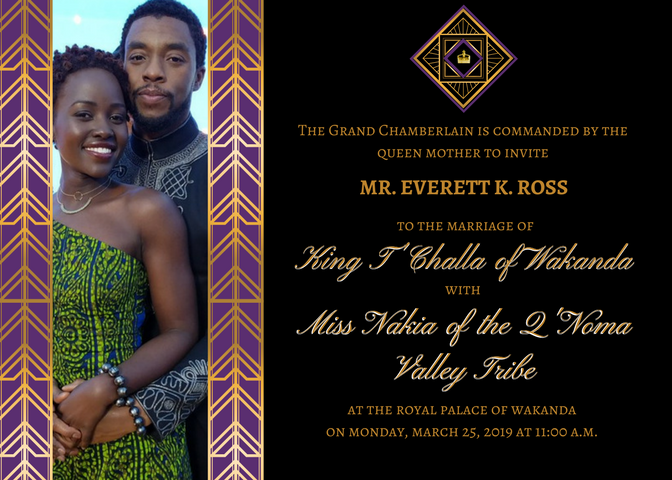 Wedding invitation mock-up for T'Challa and Nakia's wedding.