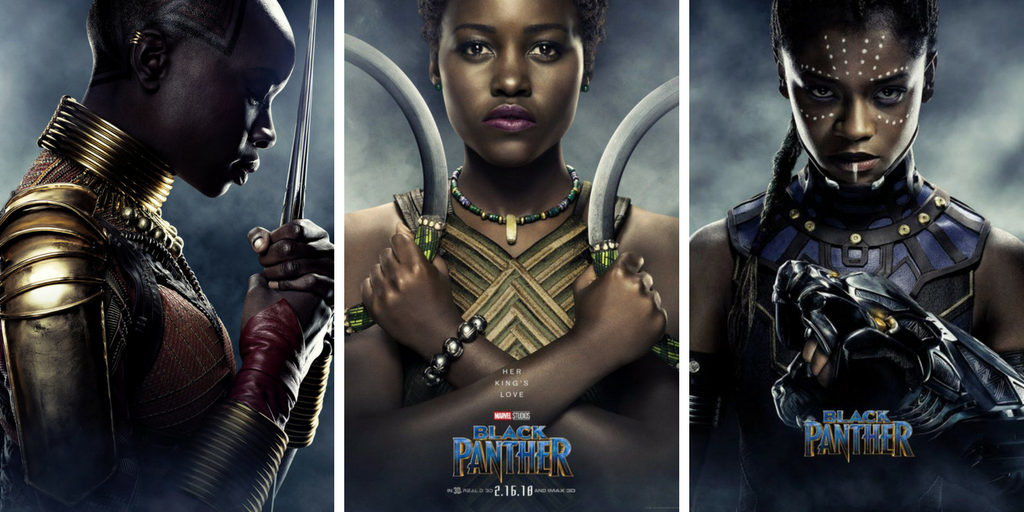 Posters of Danai Gurira as Okoye, Lupita Nyong'o as Nakia, and Letitia Wright as Shuri.