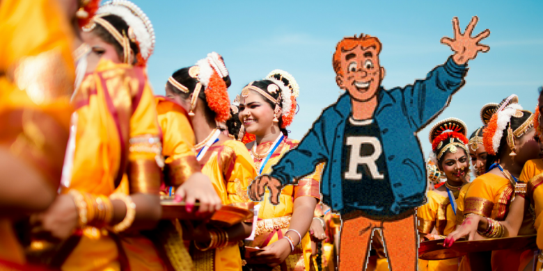 Illustration featuring a drawn image of Archie Andrews among Indian dancers.