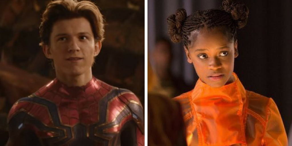 Peter Parker in his Iron Spider suit and Shuri in his transparent orange jumper.