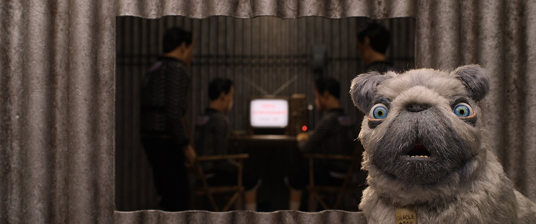 A pug voiced by Tilda Swinton is the focus of this frame, while Japanese characters are in the background.
