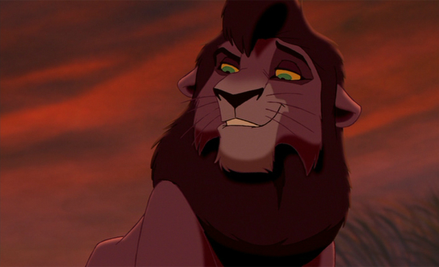 Kovu also smiles just as dashingly, also in front of a setting sun.