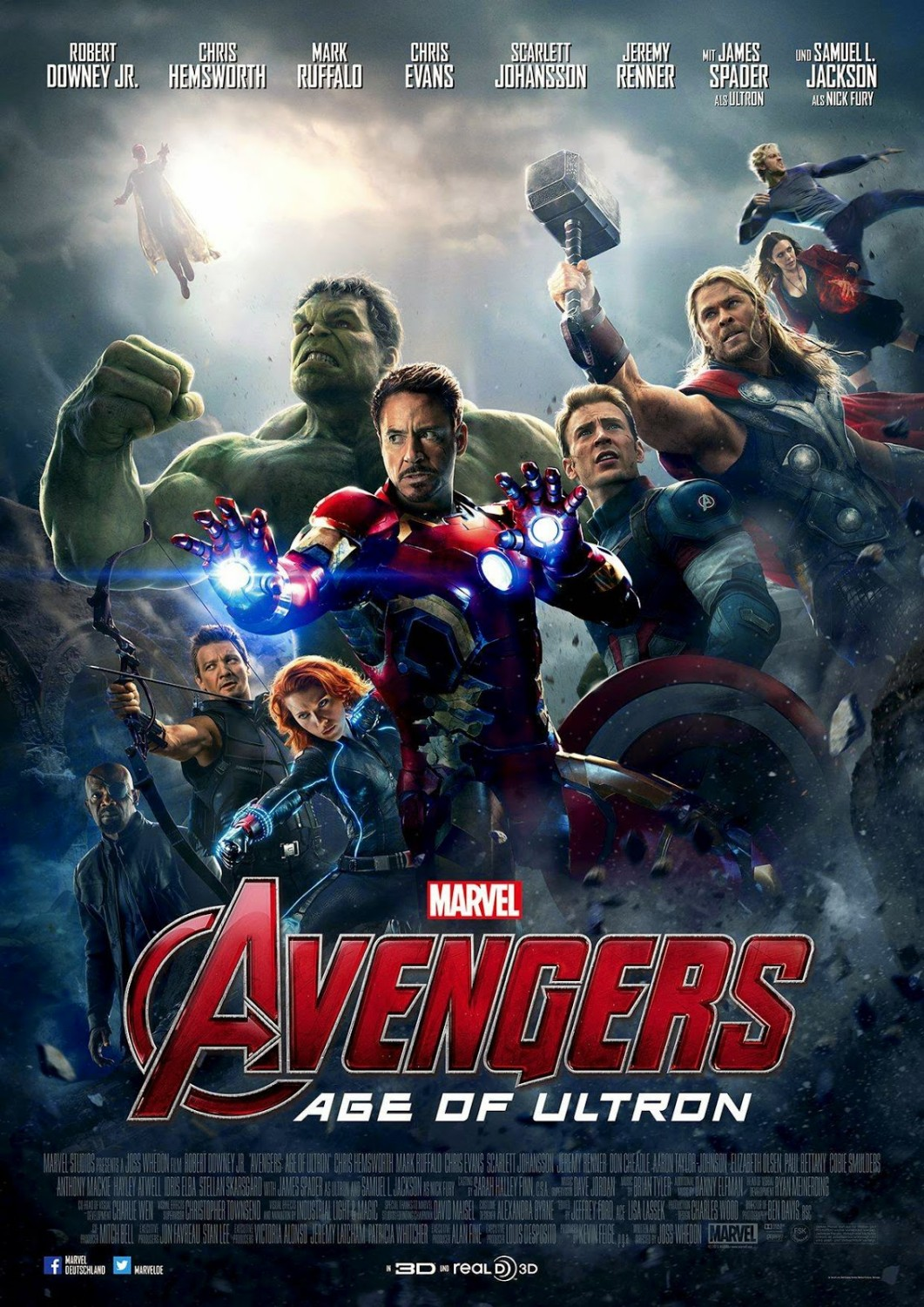 Avengers: Age of Ultron poster featuring Hulk, Iron Man, Hawkeye, Black Widwo, Captian America, Nick Fury, Thor, Scarlet Witch, Quicksilver, and the Vision.