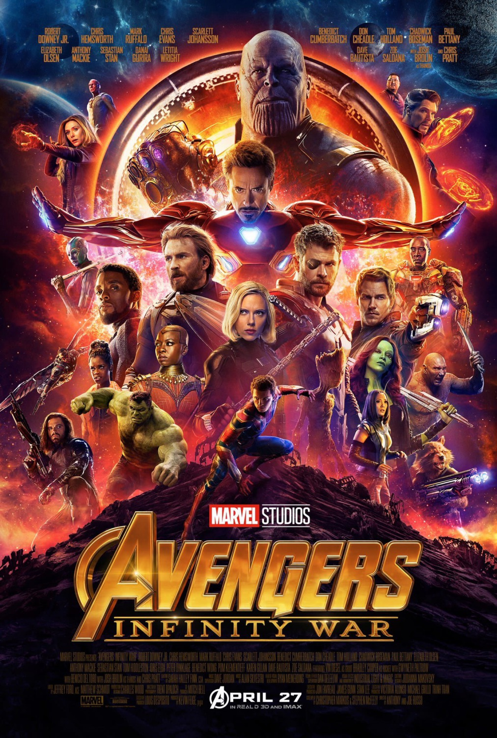 Avengers: Infinity War poster featuring Thanos and almost every Marvel character from the past 10 years.