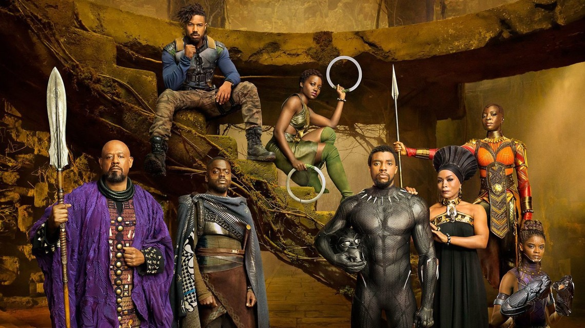 Black Panther Entertainment Weekly image featuring Killmonger, Nakia, Black Panther, Ramonda, Wkabi, and Zuri.