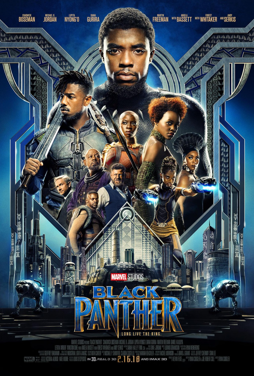 Black Panther poster featuring T'Challa, Killmonger, Nakia, Okoye, Shuri, Ramonda, Klaue, W'Kabi, Zuri, and Ross