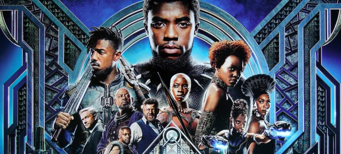 The final poster for Black Panther featuring T'Challa, Killmonger, Nakia, Klaue, Okoye, Shuri, W'Kabi, Zuri and Everett Ross.