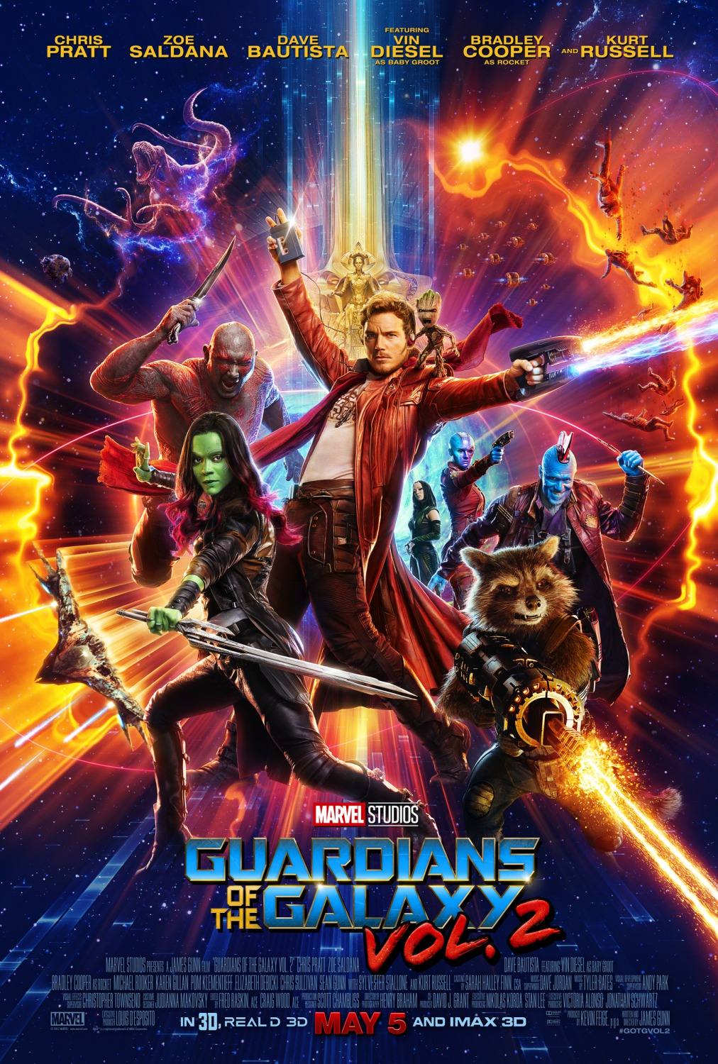 Poster for Guardians of the Galaxy Vol. 2 featuring Gamora, Star Lord, Drax, Rocket Racoon, Baby Groot, Yondu, and Nebula.