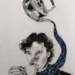 Fan art of Benedict Cumberbatch as Sherlock drinking tea. His scarf is being poured out in a fantastical way from a floating silver tea kettle.