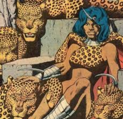 Madam Slay, surrounded by her leopards.