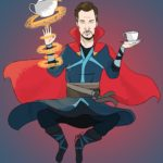 Fan art of Benedict Cumberbatch as Doctor Strange floating in mid air with his tea cup in one hand and a tea kettle floating thanks to Doctor Strange's powers by his other hand.