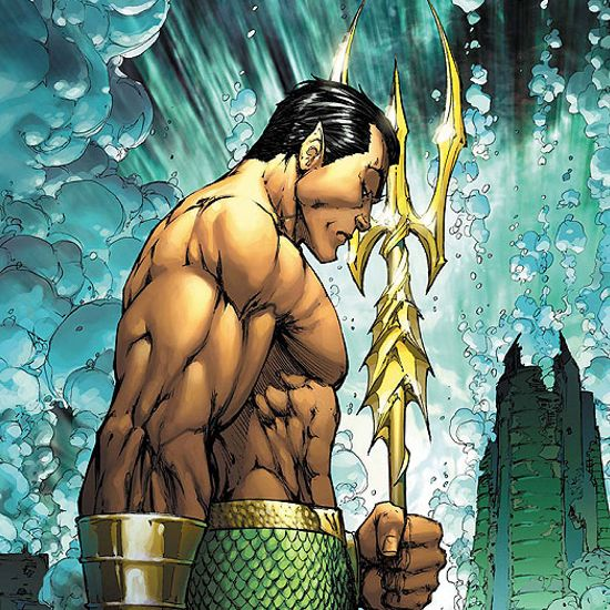 Prince Namor posed underwater with his trident.
