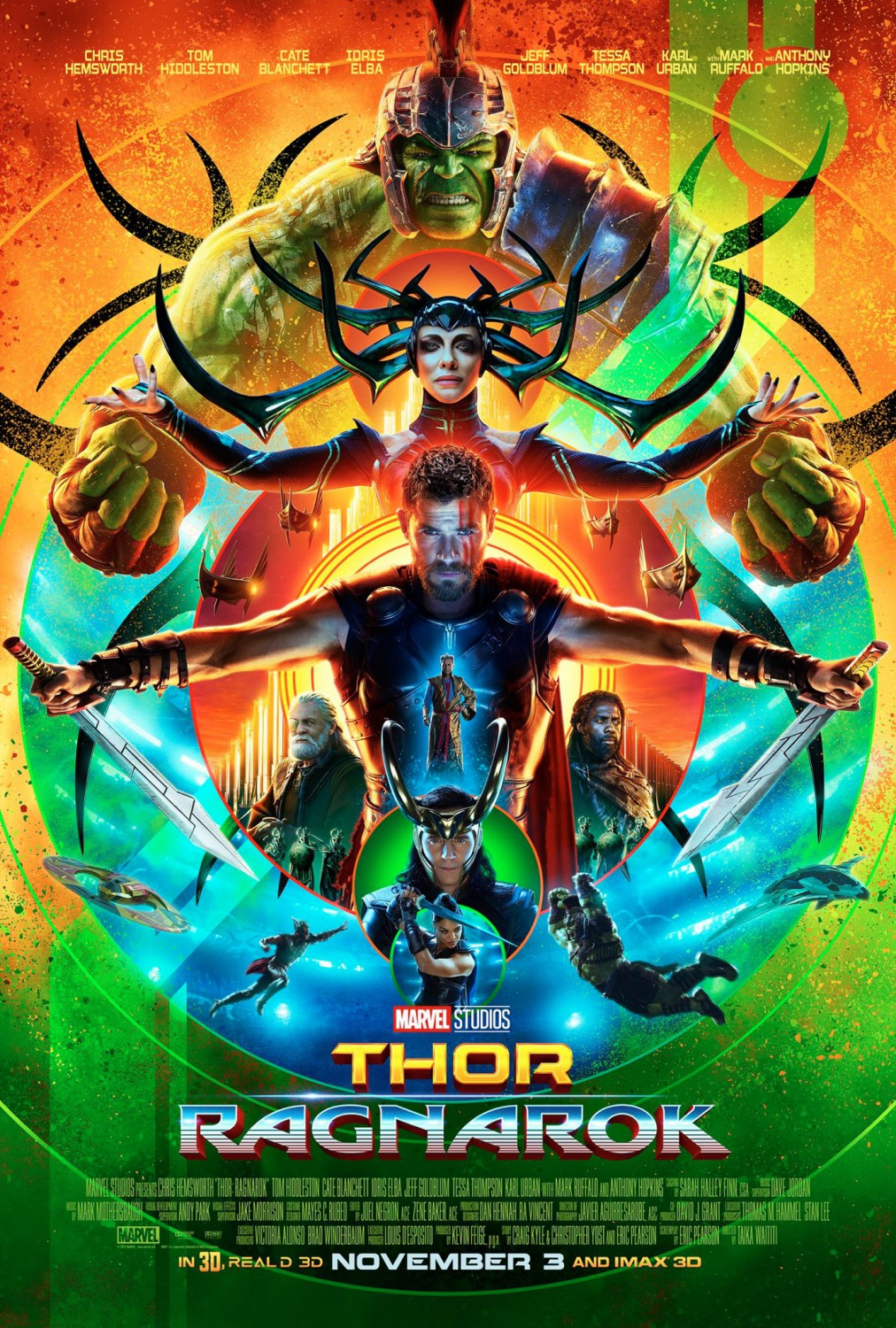 Thor: Ragnarok poster featuring the Hulk, Hela, Thor, Heimdall, Odin, Loki Valkyrie, and the Grandmaster.