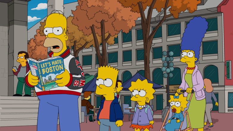 """After Homer catches Bart rooting for Springfield's football rival, the Boston Americans, he plans a family """"hate-cation"""" trip to Boston in an attempt to show Bart that Boston is a terrible city on the episode """"The Town"""""""