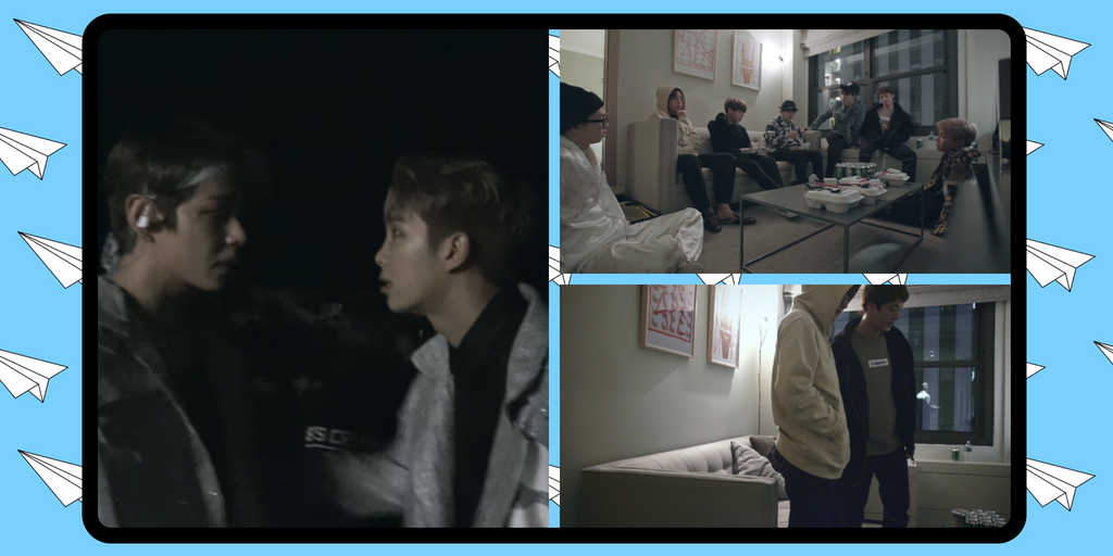 Clockwise: RM tries to comfort V seconds before they go on stage. The group later convenes in their hotel. Jin and V make up in private.