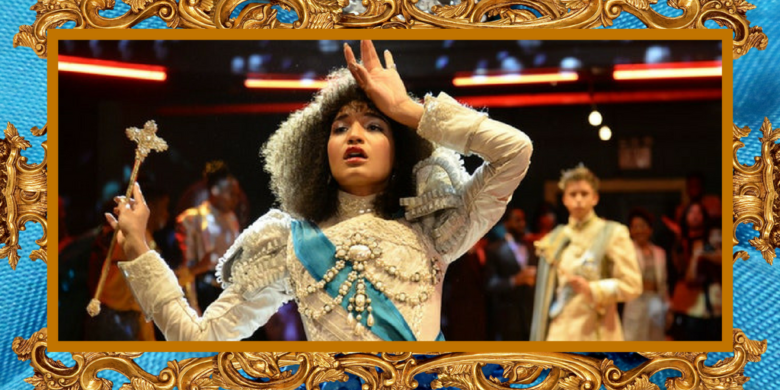 Cerulean satin and a gilded gold frame houses a picture of Indya Moore as Angel