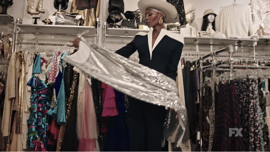 "In a promo for ""Pose,"" Elektra (Dominique Jackson) flaunts a silver dress."