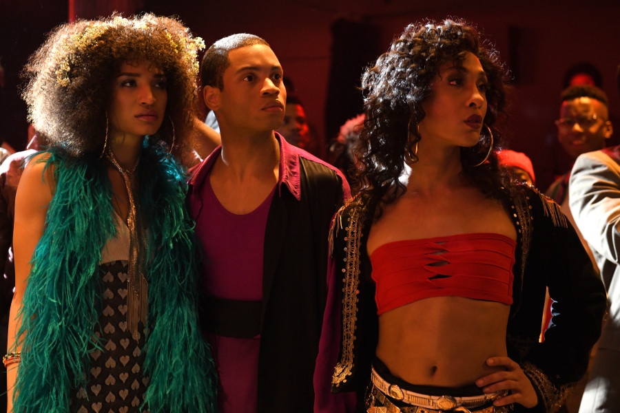 Pictured (l-r): Indya Moore as Angel, Ryan Jamaal Swain as Damon, Mj Rodriguez as Blanca. (JoJo Whilden/FX)