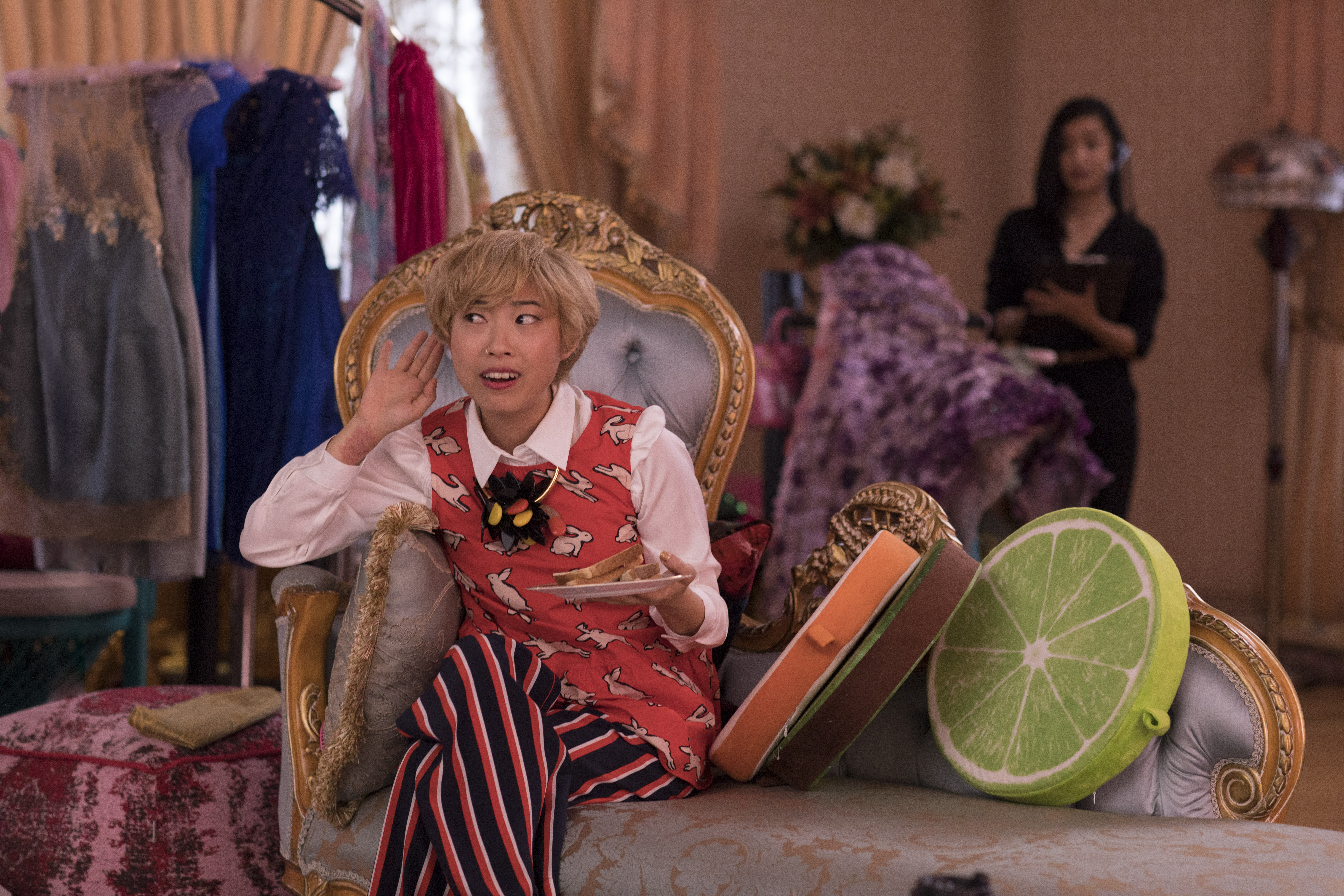 """Photo Credit: Sanja Bucko Caption: AWKWAFINA as Peik Lin in Warner Bros. Pictures' and SK Global Entertainment's and Starlight Culture's contemporary romantic comedy """"CRAZY RICH ASIANS,"""" a Warner Bros. Pictures release."""