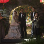 "Photo Credit: Sanja Bucko Caption: (Center-Right) SONOYA MIZUNO as Araminta, CHRIS PANG as Colin, HENRY GOLDING as Nick and JIMMY O. YANG as Bernard in Warner Bros. Pictures' and SK Global Entertainment's and Starlight Culture's contemporary romantic comedy ""CRAZY RICH ASIANS,"" a Warner Bros. Pictures release."