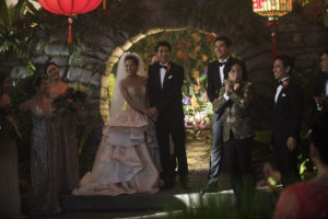 """Photo Credit: Sanja Bucko Caption: (Center-Right) SONOYA MIZUNO as Araminta, CHRIS PANG as Colin, HENRY GOLDING as Nick and JIMMY O. YANG as Bernard in Warner Bros. Pictures' and SK Global Entertainment's and Starlight Culture's contemporary romantic comedy """"CRAZY RICH ASIANS,"""" a Warner Bros. Pictures release."""