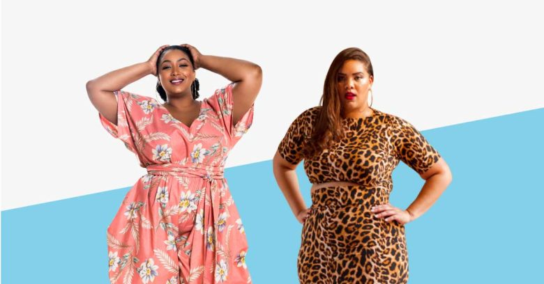 Illustrations of models in plus sized clothing. One woman, black, is wearing a pink jumpsuit with a white and blue floral print. Another plus sized model, light-skinned, is wearing a leopard print two piece top and skirt set.
