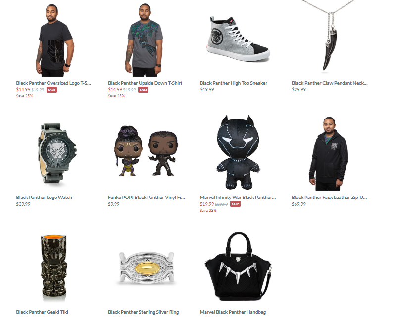 ThinkGeek's single page of products pertaining to Black Panther