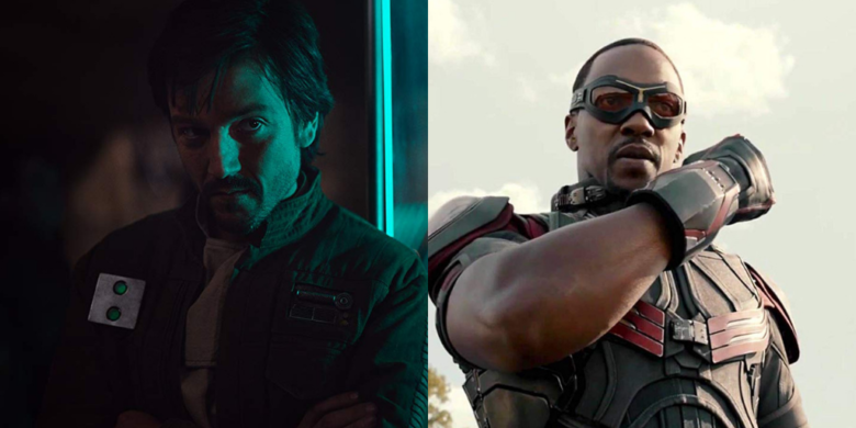 (L-R) Diego Luna as Cassian Andor, Anthony Mackie as the Falcon