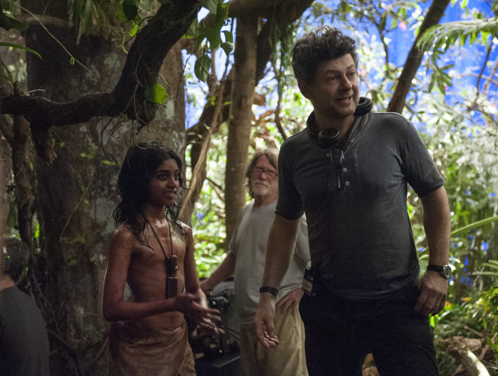 """Rohan Chand (""""Mowgli) and Director Andy Serkis on the set of the Netflix film """"Mowgli: Legend of the Jungle"""""""