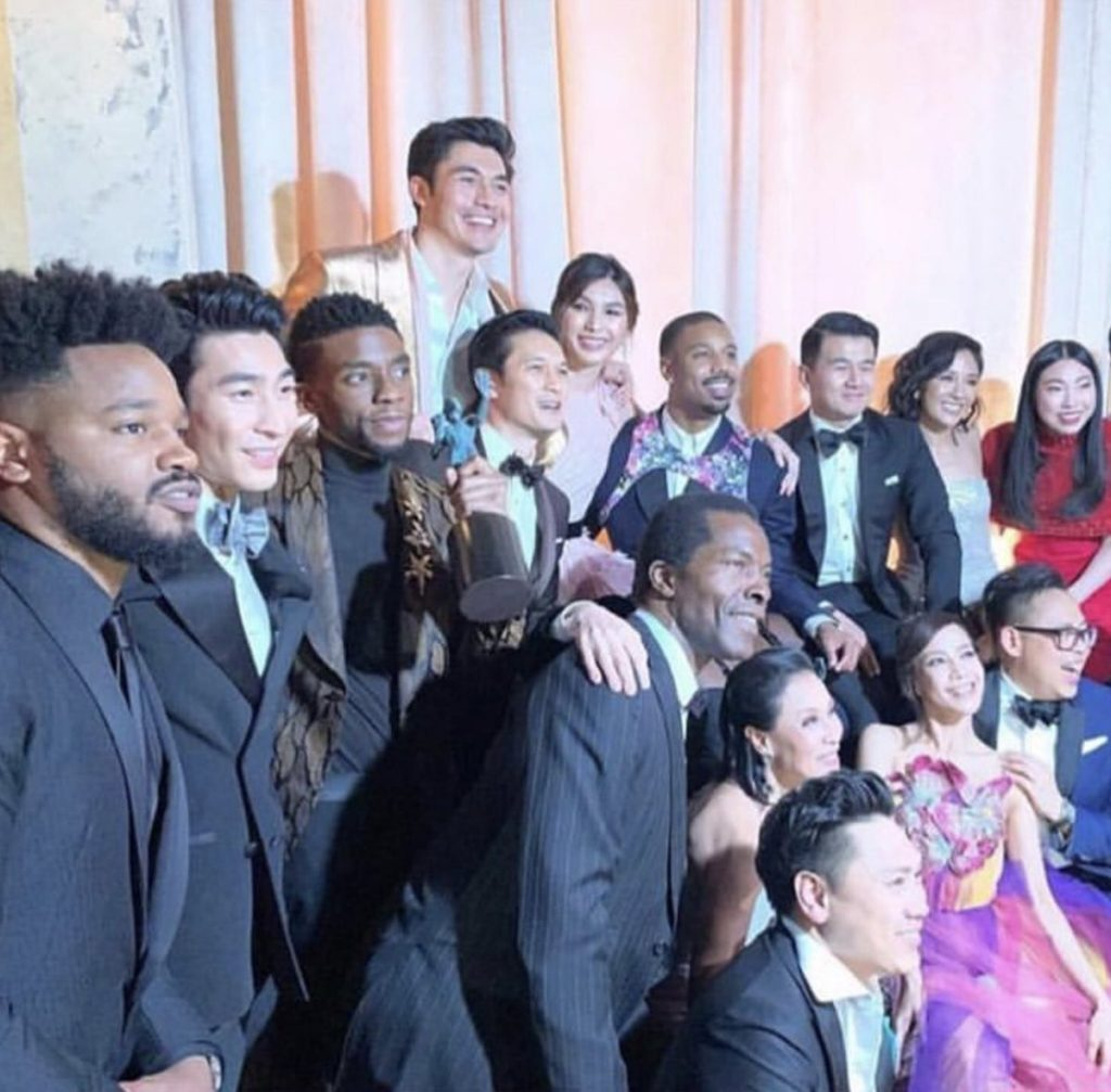 The castmembers of Black Panther and Crazy Rich Asians backstage at the SAG Awards.