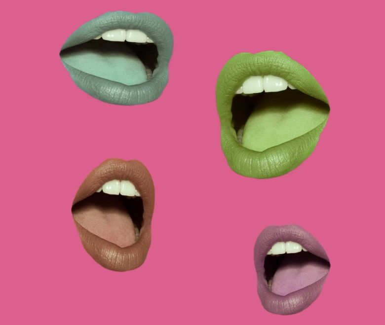 collage of talking female mouths in different colors amid a pink background
