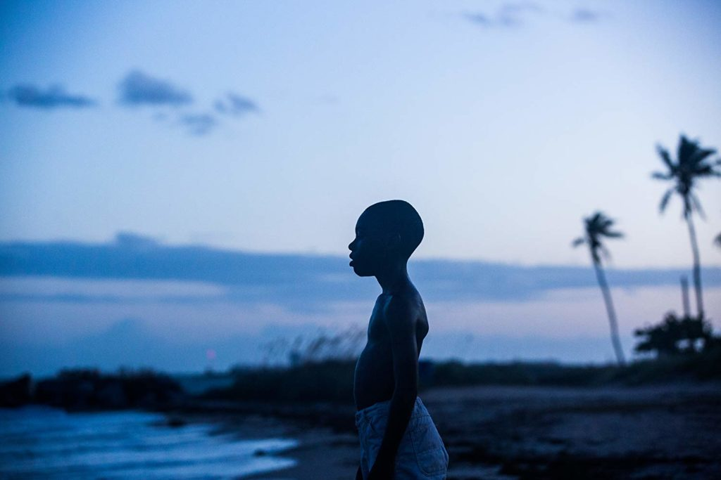 Little Chiron stands on the beach at a blue dusk and looks out at the water.