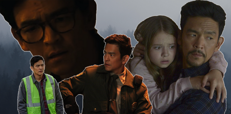 A spooky collage of John Cho from his various horror film and tv roles