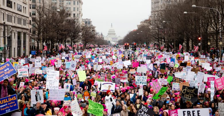 Image of protesters from the Women's March in Washington D.C. in 2017.