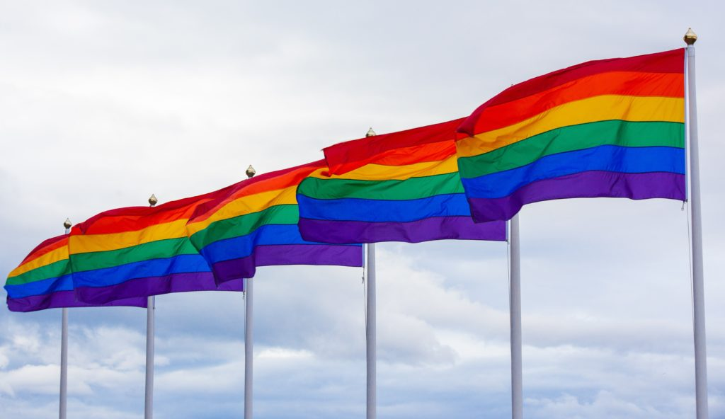 LGBTQ flags flying in succession. COVID-19 affects the LGBTQ community disproportionately to the non-LGBTQ community.