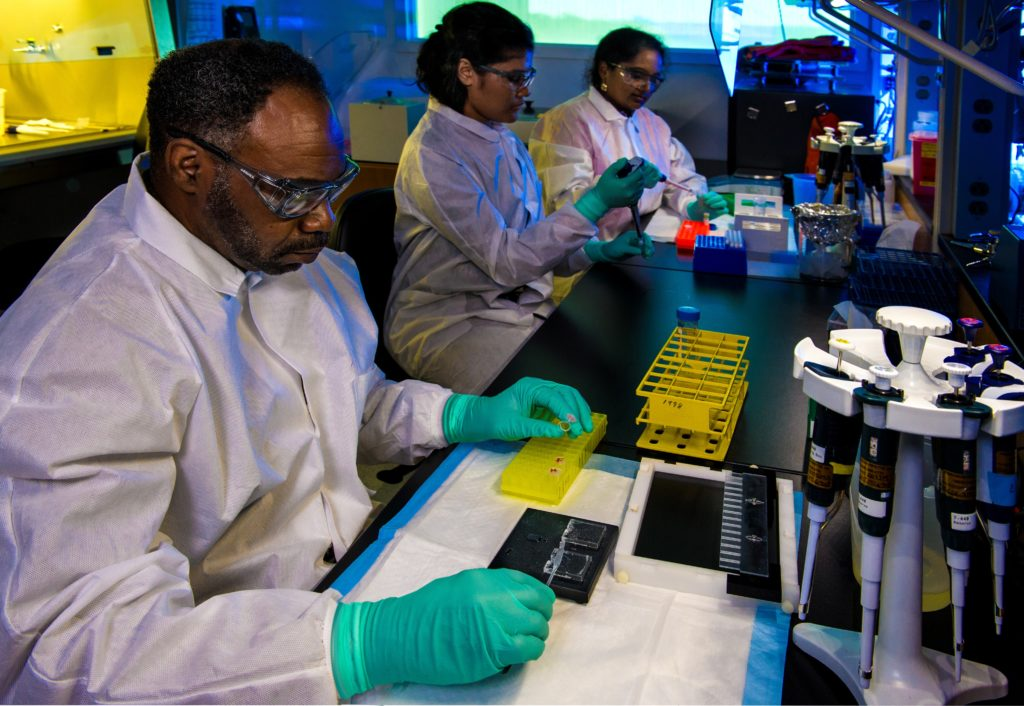 "This photograph depicted Enteric Diseases Laboratory Branch (EDLB), Public Health scientists, as they were preparing enteric bacteria samples for ""DNA fingerprinting"", using pulsed-field gel electrophoresis (PFGE). This picture was used to represent how scientists are preparing for a COVID-19 vaccine."