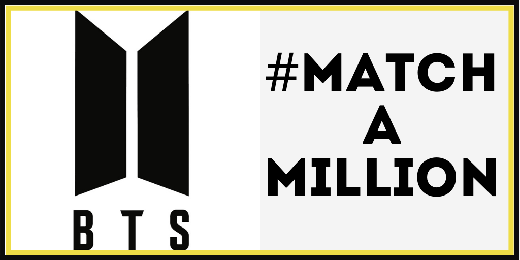 The #MatchAMillion campaign was started by Daezy Agbakoba after she learned of BTS' donation to Black Lives Matter. BTS Logo: Big Hit Entertainment