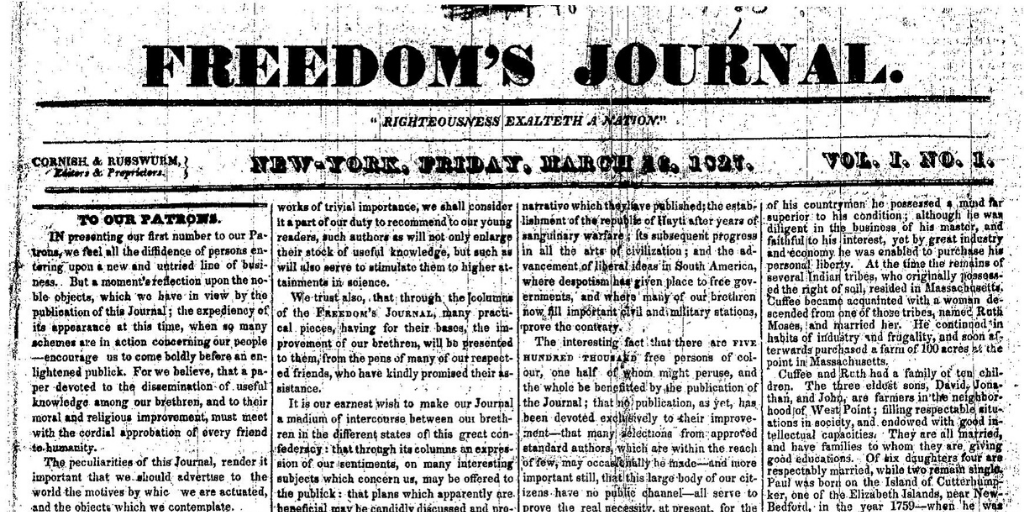 Freedom's Journal, first issue. Authors: Samuel Cornish, John Brown Russwurm. One of the Black people who were affected by Hamilton and the Founding Fathers.