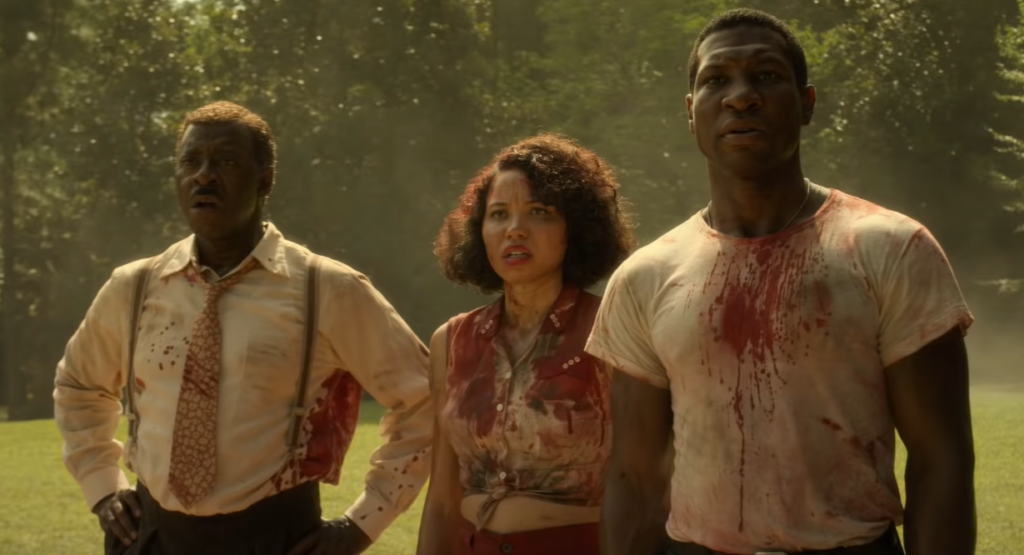 Courtney B. Vance, Jurnee Smollett and Jonathan Majors as Uncle George, Letitia, and Atticus in Lovecraft Country. (Photo credit: HBO)